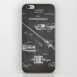 Fishing Rod Patent - Fishing Art - Black Chalkboard iPhone Skin