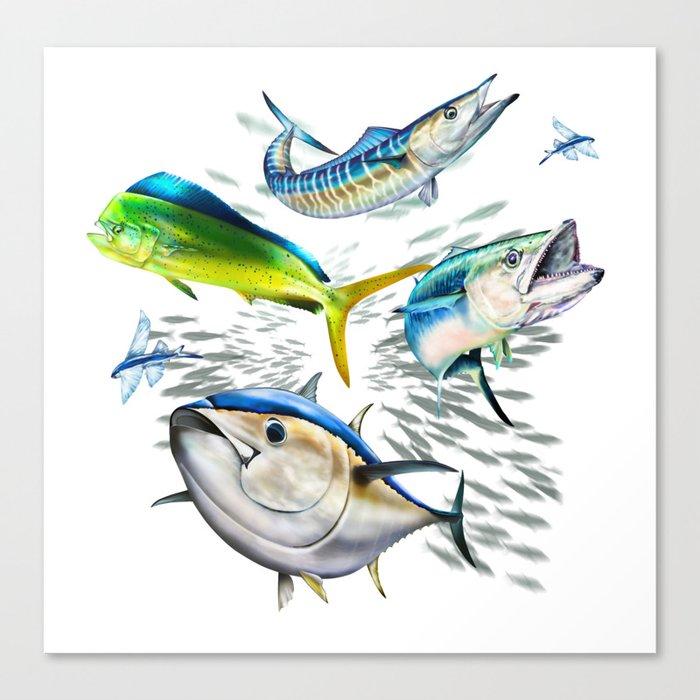 Tuna, Dolphin, Wahoo, King Mackerel, Flying Fish Canvas Print
