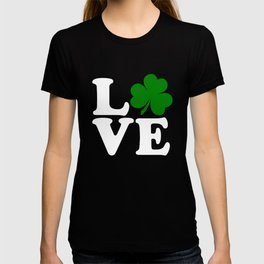 Love with Irish shamrock T-shirt