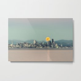 Blood Moon Over Seattle Metal Print