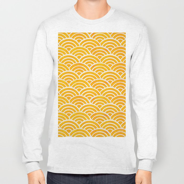 Japanese Seigaiha Wave – Marigold Palette Long Sleeve T-shirt