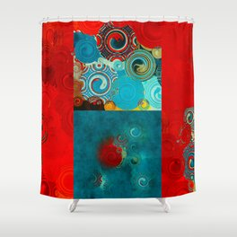 Teal and Red Swirls Shower Curtain