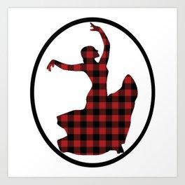 Flamenco Dancer Plaid Circle Art Print