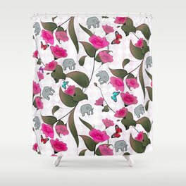 Abstract neon pink green cute elephant floral Shower Curtain