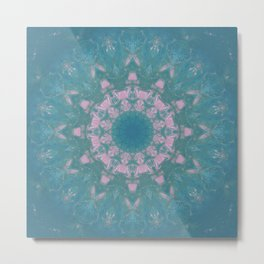 Navajo Turquoise Gemstone Mandala No. 40 Metal Print