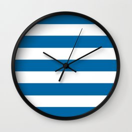 Sapphire blue - solid color - white stripes pattern Wall Clock