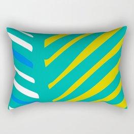 Mid-Century Modern Teal, Seafoam Green And Yellow Pattern Rectangular Pillow