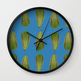 Green Leaves Print Wall Clock