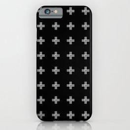 Geometric Swiss Cross Pattern (black background) iPhone Case