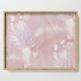 Romantic Moment Pink White Flowers #decor #society6 Serving Tray