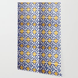 Blue and yellow tile Wallpaper