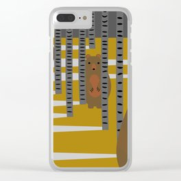 Bears hiding in the woods Clear iPhone Case