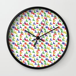 Multi colored deer Wall Clock