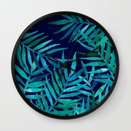 Watercolor Palm Leaves on Navy Wall Clock
