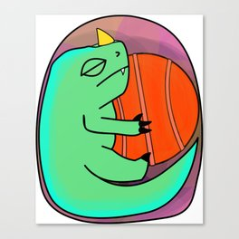 Baby Basketball Dino Canvas Print