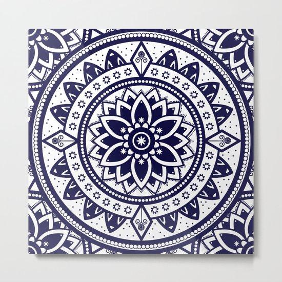 Blue & White Patterned Flower Mandala Design Metal Print