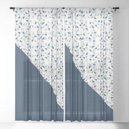 Indigo Triangles #society6 #pattern #indigo Sheer Curtain