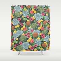 cacti Shower Curtains featuring cacti by Laura Solitrin