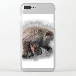 Baby Snow Monkey Clear iPhone Case