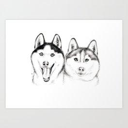 Husky Buddies Art Print