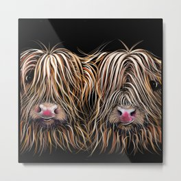 SCoTTiSH HiGHLaND CoWs ' BiLL & TeD ' by SHiRLeY MacARTHuR Metal Print