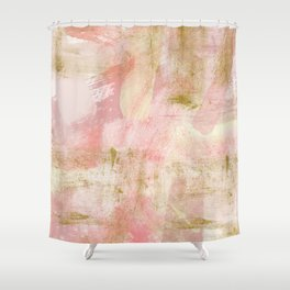 Rustic Gold and Pink Abstract Shower Curtain