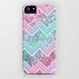 Mermaid Glitter Chevron #2 #shiny #pastel #decor #art #society6 iPhone Case