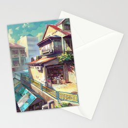 Cute Little Supermarket In Idyllic Town Square Cartoon Scenery Ultra High Resolution Stationery Cards