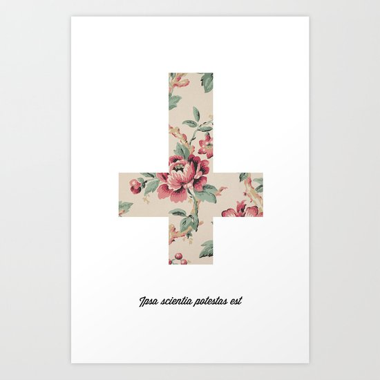 Flower Cross Art Print