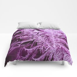 White Ice Crystals On A Purple Background #decor #society6 #homedecor Comforters