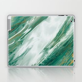Emerald Jade Green Gold Accented Painted Marble Laptop & iPad Skin