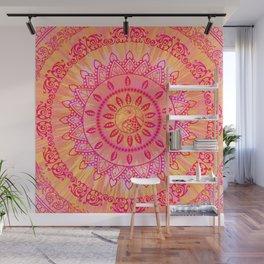 Sun Kissed Mandala Orange Pink Wall Mural
