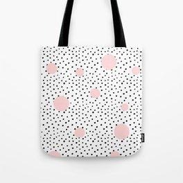 Pink And Black Modern Polka Dot Pattern Tote Bag