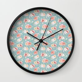 Pastel pink coral green watercolor floral pattern Wall Clock