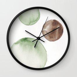 18|181104 Australian Leaf Green & Brown Earth Orbs | Watercolour Circle Abstract Geometrical Wall Clock