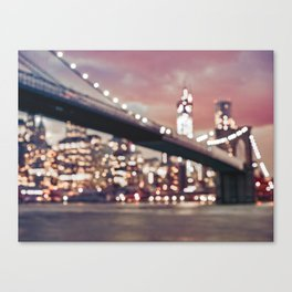 New York City Brooklyn Bridge Lights Canvas Print