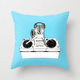 Shiba Inu Dog DJ-ing Throw Pillow