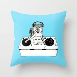 Shiba Inu Dog DJ-ing Throw Pillow