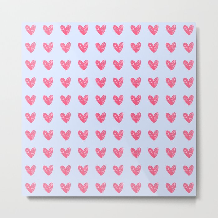 Pink hearts on blue Metal Print