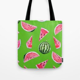 Watermelon Pattern with Green Background Tote Bag