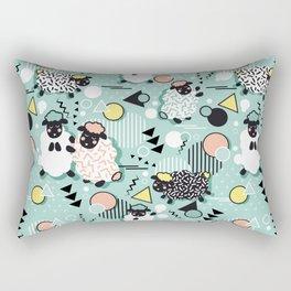 Mééé Memphis sheep // mint background Rectangular Pillow