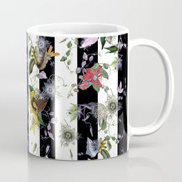 Vibrant Exotic Floral on Black and White Stripes Coffee Mug
