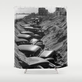 Cars Buried at Andrea Hotel - Misquemicut Beach, Westerly Rhode Island after 1954 Hurricane Carol Shower Curtain