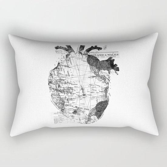 Heart Wanderlust Black and White Rectangular Pillow
