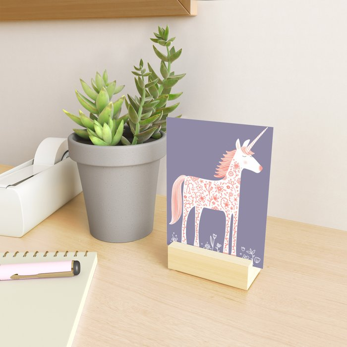 Unicorn with Flowers Mini Art Print