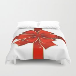 Red Bow on white Duvet Cover