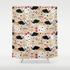 Corgi Casino cute dog accessories dog dogs vegas poker Shower Curtain