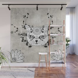 Wonderful sugar cat skull Wall Mural