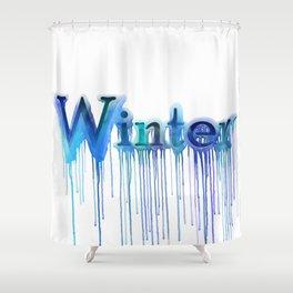 Winter Typography Shower Curtain