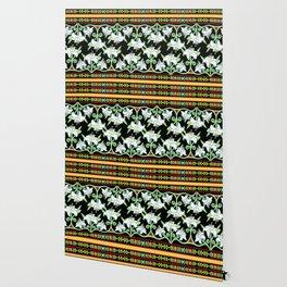 Elizabethan Lily Folkloric Stripe Wallpaper